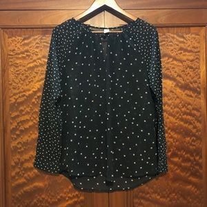 Black old navy print sheer blouse- medium